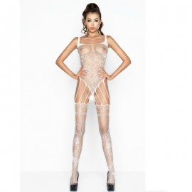 PASSION WOMAN BS034 BODYSTOCKING BLANCO TALLA UNICA