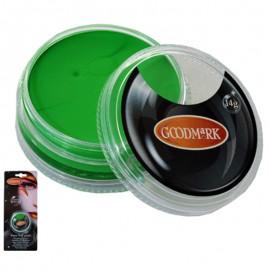 Maquillaje al agua en crema de color verde