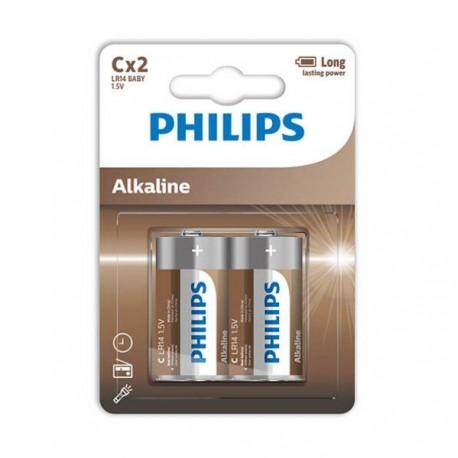PHILIPS ALKALINE PILA C LR14 BLISTER*2