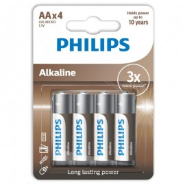 PHILIPS ALKALINE PILA AA LR6 BLISTER*4